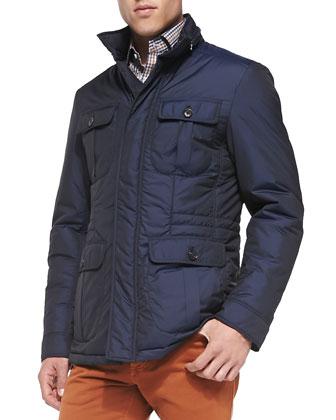Nylon Safari Jacket, Cashmere Ombre-Stripe Sweater, Double-Pocket Plaid ...