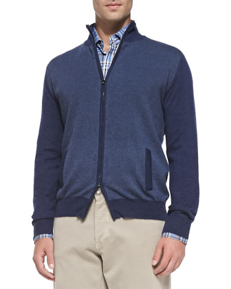 Cashmere Pin-Dot Cardigan, Navy