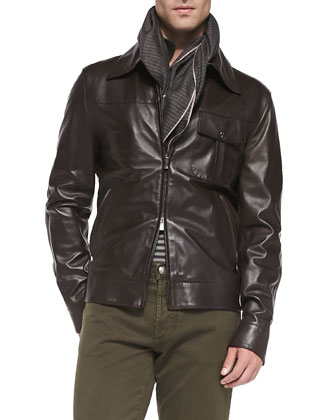Napa Leather Jacket, Cashmere Ombre-Stripe Sweater, Plaid Button-Down Shirt ...