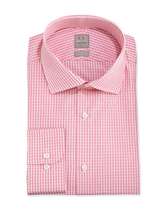 Woven Check Dress Shirt, Coral