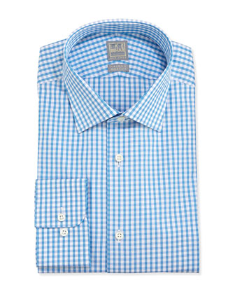 Check Twill Dress Shirt, Pool Blue