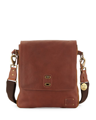 Otto Men's Leather Crossbody Satchel Bag, Cognac
