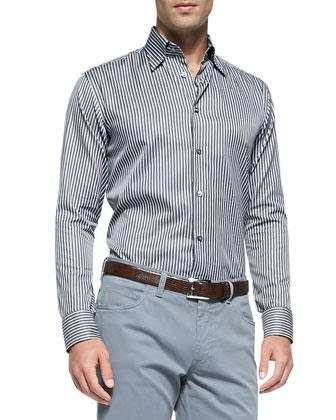 Stripe Woven Shirt & Five-Pocket Cotton Trousers