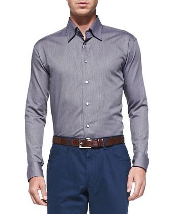 Textured 1/2-Zip Sweater, Long-Sleeve Woven Shirt & Five-Pocket Cotton Trousers