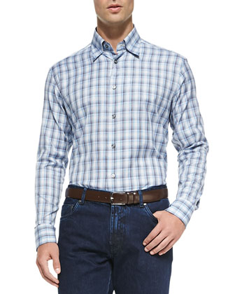 Long-Sleeve Plaid Cotton Shirt, Blue