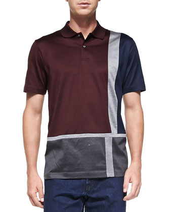 Geo-Box-Print Polo, Red