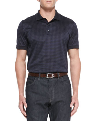 Tonal-Plaid Polo Shirt, Blue
