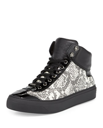 Argyle Men's Snake-Embossed High-Top Sneaker, Black/White
