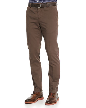 Piece-Dyed 5-Pocket Trousers, Brown