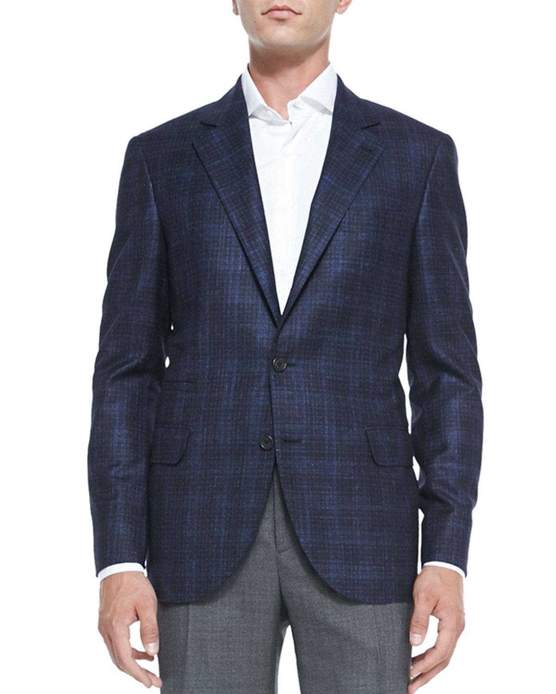 Mens Wool/Cashmere Plaid Jacket, Blue   Brunello Cucinelli   Blue (50)