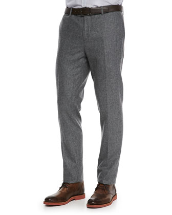 Flat-Front Flannel Trousers, Gray