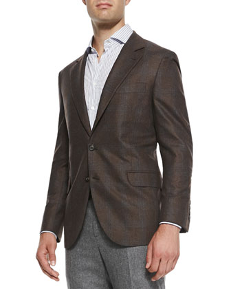 Wool/Cashmere Jacket with Blue Accent, Brown