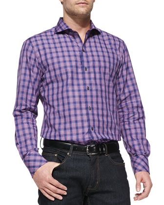 Plaid Woven Button-Down Shirt, Navy
