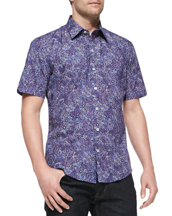 Paisley and Floral-Print Short Sleeve Shirt, Purple