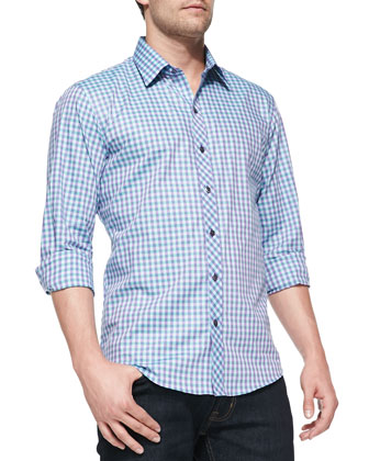 Check Woven Shirt, Purple/Light Blue/Green