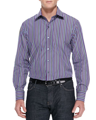 Bright-Multi-Stripe Woven Sport Shirt, Navy