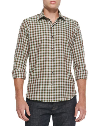 Gingham-Check Woven Shirt, Green/Gray