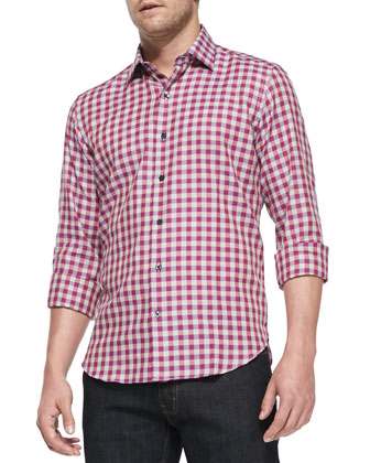 Multicolored Gingham Woven Shirt, Medium Pink