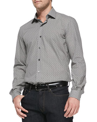 Floral-Tile-Print Woven Shirt, Gray