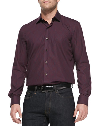 Medallion-Print Poplin Shirt, Wine