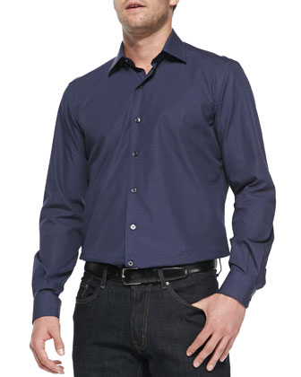 Hexagonal-Print Woven Shirt, Navy