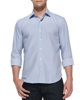 Gingham-Check Woven Shirt, Light Blue