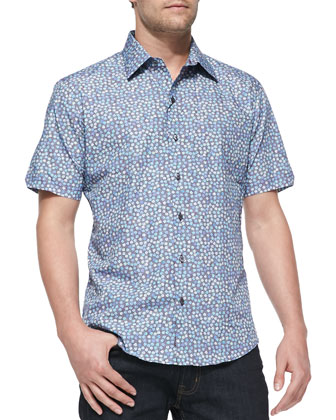 Small-Floral-Print Short-Sleeve Shirt, Blue