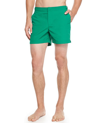 Setter Short-Length Swim Trunks, Green Parrot