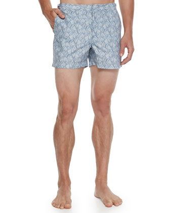 Setter Palm-Print Short-Length Swim Trunks, Blue