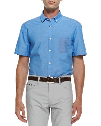 Finely Striped Short-Sleeve Shirt, Blue