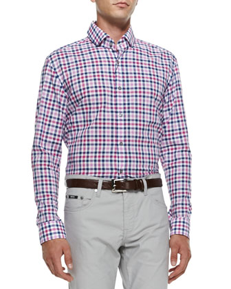 Check Long-Sleeve Shirt, Medium Pink