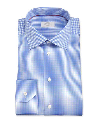 Mini-Gingham Dress Shirt, Blue