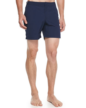 Bulldog Mid-Length Swim Trunks, Navy