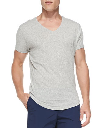 Cotton/Linen V-Neck Tee, Gray