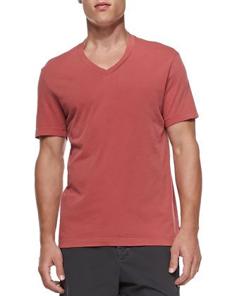 Cotton V-Neck Tee, Red