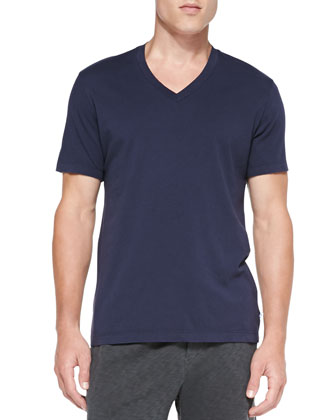 Combed Cotton V-Neck Tee, Navy
