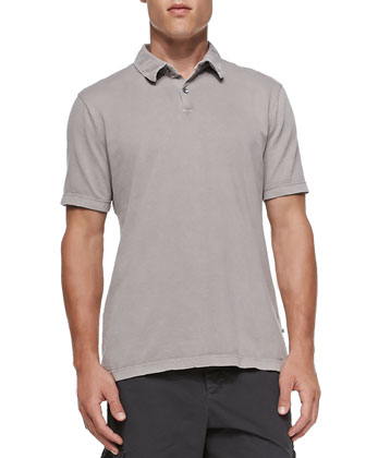 Short-Sleeve Jersey Polo, Taupe