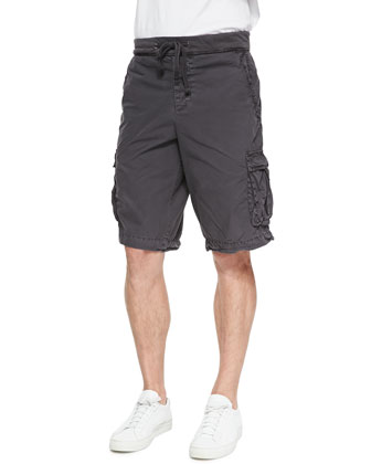 Cotton Crewneck Tee & Contrast-Waist Cargo Shorts