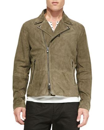 Asymmetric-Zip Suede Moto Jacket, Olive
