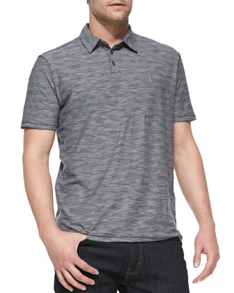Yarn-Dyed Striped Polo, Blue/Charcoal