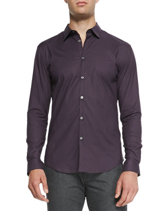 Slim-Fit Woven Sport Shirt, Plum