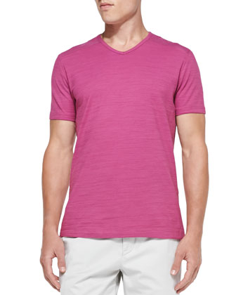 Flame Jersey V-Neck Tee, Medium Pink