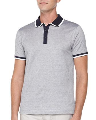 Dress Jacquard Polo & 5-Pocket Stretch-Twill Pants