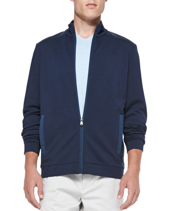 French-Terry Zip Jacket, Navy