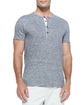 Cotton/Linen Short-Sleeve Henley, Navy