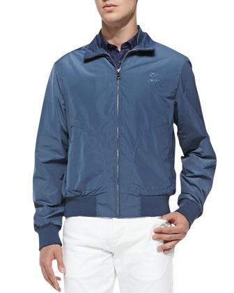 Packable Blouson Tech-Fabric Jacket & Straight-Leg Denim Jeans