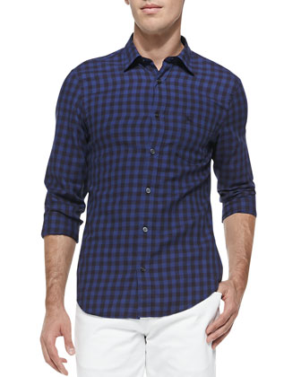 Gingham Long-Sleeve Shirt, Navy