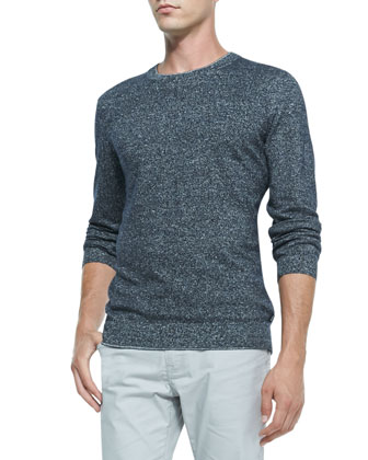 Cotton/Linen Sweater, Navy