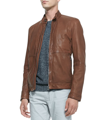 Lightweight Napa Leather Jacket, Cotton/Linen Sweater & 5-Pocket ...