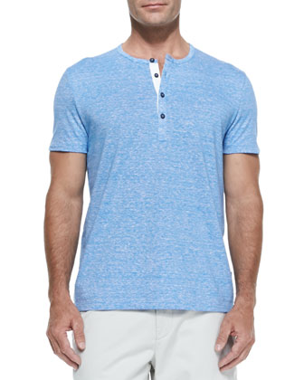 Cotton/Linen Short-Sleeve Henley, Blue